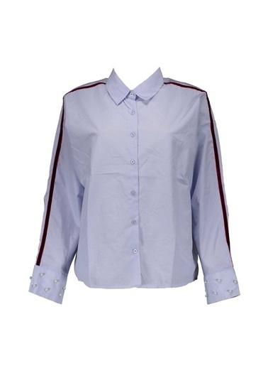 Collezione Collezione Kolu Şerit Detaylı Buz Si Kadın Gömlek Mavi